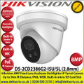 Hikvision 8MP 2.8mm Fixed Lens AcuSense Darkfighter Network Turret Camera, 30m IR Distance, IP66, WDR, H.265+, Built-in micro SD Card Slot, Face Capture, Smart Motion Detection, Built-in Microphone, Built-in Speaker and Alarm - DS-2CD2386G2-ISU/SL