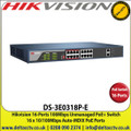 Hikvision 16-Ports 100Mbps Unmanaged PoE+ Switch, Up to 250m Transmission Achievable at Reduced Mbps Rate - DS-3E0318P-E