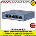 Hikvision 4 Port Fast Ethernet Unmanaged POE Switch, 4 × 100 Mbps PoE ports and 1 × 100 Mbps Ethernet port - DS-3E0105P-E(B)