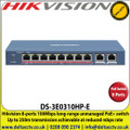 Hikvision 8-Ports 100Mbps Long-range Unmanaged PoE+ switch, Up to 250m Transmission Achievable at Reduced Mbps Rate - DS-3E0310HP-E