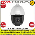 Hikvision 4MP DarkFighter IR PoE IP Network Speed Dome PTZ Camera, 25 x Optical Zoom, 16 x Digital Zoom, 150m IR Distance, IP66 Weatherproof, WDR, H.265+, Built-in micro SD/SDHC/SDXC Card Slot, Defog, 2 Alarm Inputs/Outputs - DS-2DE5425IW-AE/Alarm