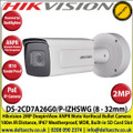 Hikvision 2MP 8-32mm Motorized Varifocal Lens Darkfighter DeepinView ANPR Bullet Camera,100m IR Distance, IP67, 140dB WDR, Built-in micro SD/SDHC/SDXC Card Slot, IK10, 2 Alarm Inputs/Outputs, Wiegand Interface - DS-2CD7A26G0/P-IZHSWG