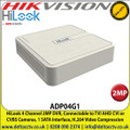 HiLook - 4 Channel 2MP DVR, Connectable to TVI AHD CVI or CVBS Cameras, 1 SATA Interface, H.264 Video Compression - ADP04G1