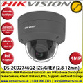 Hikvision - 4MP 2.8-12mm Motorized Varifocal Lens IP PoE Network AcuSense Darkfighter Grey Dome Camera With IR, 40m IR Distance,IP66 Weatherproof, IK10, WDR, H.265+ Compression, Audio and Alarm, MicroSD/SDHC/SDXC Card Slot - DS-2CD2746G2-IZS/GREY