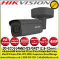 Hikvision - 4MP 2.8-12mm Motorized Varifocal Lens IP PoE Network AcuSense Darkfighter Grey Bullet Camera With IR, 60m IR Distance,IP66 Weatherproof, IK10, WDR, H.265+ Compression, Audio and Alarm, MicroSD/SDHC/SDXC Card Slot - DS-2CD2646G2-IZS/GREY