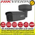 DS-2CD2646G2-IZS/GREY-SSR Hikvision - 4MP 2.8-12mm Motorized Varifocal Lens IP PoE AcuSense Darkfighter Grey Bullet Camera With IR, 60m IR Distance,IP66 Weatherproof, IK10, WDR, H.265+ Compression, Audio and Alarm, MicroSD/SDHC/SDXC Card Slot
