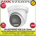Hikvision - 2MP 2.8-12mm Motorized Varifocal Lens ColorVu PoC TVI TurretCamera, 40m White Light Distance, IP68 Weatherproof, 130dB WDR, Smart Light, 24/7 Full Color Imaging - DS-2CE79DF8T-AZE