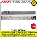 Hikvision - 32 Channel 2MP Turbo 4.0 DVR Recorder, HD-TVI-AHD-CVI & Analogue, 2 SATA Interface,  H.265+ Compression - DS-7232HQHI-K2
