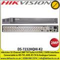 DS-7232HQHI-K2-SSR Hikvision - 32 Channel 2MP Turbo 4.0 DVR Recorder, HD-TVI-AHD-CVI & Analogue, 2 SATA Interface,  H.265+ Compression
