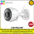 EZVIZ - 2MP Color Night Vision Outdoor Smart Wi-FI Camera with Siren & Strobe Light, 1080p Full HD, IP67 Weatherproof, Two-Way talk, Supports MicroSD Cards ( Up to 256GB) - C3W-PRO/2MP