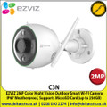 EZVIZ - 2MP Color Night Vision Outdoor Smart Wi-FI Camera, 2MP Streaming, IP67 Weatherproof, Supports MicroSD Cards ( Up to 256GB) - C3N