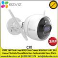 EZVIZ - 2MP Color Night Vision Dual-lens Wi-Fi Camera, 2MP Streaming, Intelligent Dual-lens, IP67 Weatherproof, Human/Vechicle Shape Detection, Customizable Voice Alerts - C3X