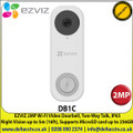 EZVIZ 2MP Wi-Fi VIdeo Doorbell, 2MP Streaming, 170º Vertical Field of View, IP65, Two-Way Talk, Supports MicroSD card up to 256GB - DB1C