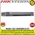 Hikvision DS-7204HQHI-K1(S)-SSR 4 Channel 2MP Audio Via Coaxial Cable DVR, HDTVI/AHD/CVI/CVBS/IP Video Input, 1 SATA Interface, H.265 Pro+/H.265 Pro/H.265 Video Compression