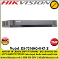 Hikvision DS-7216HQHI-K1(S) 16 Channel 2MP Audio Via Coaxial Cable DVR, HDTVI/AHD/CVI/CVBS/IP Video Input, 1 SATA Interface, H.265 Pro+/H.265 Pro/H.265 Video Compression