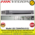 Hikvision DS-7204HTHI-K1(S) 4 Channel 8MP Audio Via Coaxial Cable Turbo 4.0 AoC CCTV DVR, HD-TVI, AHD, IP, CVI & Analogue Cameras Video Input, 1 SATA Interface, H.265+ Video Compression