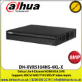 Dahua - 4 Channel 8MP DVR, Supports HDCVI/AHD/TVI/CVBS/IP Video Inputs, 1 SATA Interface, 10TB HDD Capacity, H.265+/H.265 Dual-Stream Video Compression ,HDMI, VGA  - DH-XVR5104HS-4KL-X