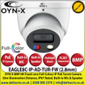 OYN-X - 8MP/4K 2.8mm Fixed Lens Full-Colour IP PoE Network CCTV Turret Camera, 30m Illumination Distance, IP67,  Built-in Mic & Speaker, AI Deterrence, Red and Blue Flashlight Alarm, Support Micro SD Card, 24/7 Colour Imaging - EAGLE8C-IP-AD-TUR-FW