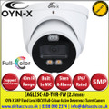 OYN-X - 5MP 2.8mm Fixed Lens Full-Colour HDCVI IR Turret Camera, Support CVI/TVI/AHD/CVBS, 40m Illumination Distance, IP67,  Built-in mic, Active Deterrence with Red Blue Light, 24/7 Colour Imaging - EAGLE5C-AD-TUR-FW
