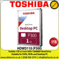 Toshiba 1TB Hard Drive for DVR Recroders, NVRs and Home and Office PC  3.5 inch SATA 7200RMP - HDWD110