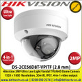 Hikvision - 2MP 2.8mm Fixed Lens Ultra Low Light Dome Camera, 4 Signals Switchable TVI/AHD/CVI/CVBS, 30 m IR Distance, IP67 Weatherproof, IK10 Vandal Proof - DS-2CE56D8T-VPITF