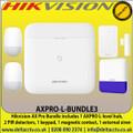 Hikvision AX Pro AXPRO-L-BUNDLE3 Bundle includes 1 AXPRO L-level hub, 2 PIR detectors, 1 keypad, 1 magnetic contact, 1 external siren
