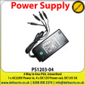 PSU 4 Way In-line PSU, Unearthed, DC12V 3A, 4 Way in line PSU - PS1203-04