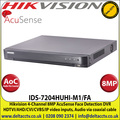 Hikvision - 4 Channel 8MP Lite AcuSense Turbo 5.0 Face Detection DVR, HDTVI/AHD/CVI/CVBS/IP Video Inputs, 1 SATA Interface, 10TB HDD Capacity, H.265 Pro+/H.265 Pro/H.265 Video Compression, Audio Via Coaxial Cable - (IDS-7204HUHI-M1/FA)