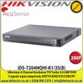 Hikvision - 4 Channel 2MP AcuSense TVI 1 SATA DVR, 5 signals input adaptively (HDTVI/AHD/CVI/CVBS/IP), Efficient H.265 pro+ compression technology, - iDS-7204HQHI-K1/2S(B)
