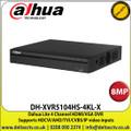 Dahua - 4 Channel 8MP DVR - DH-XVR5104HS-4KL-X, Supports HDCVI/AHD/TVI/CVBS/IP Video Inputs, 1 SATA Interface, 10TB HDD Capacity, H.265+/H.265 Dual-Stream Video Compression ,HDMI, VGA