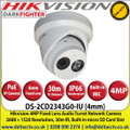 Hikvision - 4MP 4mm Fixed Lens Darkfighter Audio IP PoE Network Turret CCTV Camera, 30m IR Distance, IP66 Weatherproof, WDR, Built-in micro SD/SDHC/SDXC card slot, Built-in microphone - DS-2CD2343G0-IU