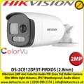 Hikvision -2MP 2.8mm Fixed Lens AoC ColorVu PIR Siren Audio TVI Bullet Camera, 40m IR  White Light Distance, IP67 Weatherproof, Strobe light & audio alarm, Built in MIC & Speaker - DS-2CE12DF3T-PIRXOS
