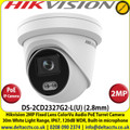 Hikvision 2Megapixel 2.8mm Fixed Lens ColorVu Audio  PoE Network Turret CCTV Camera, 30m White Light Range, IP67 Weatherproof, 120dB WDR, Built-in microphone, Built-in micro SD/SDHC/SDXC slot, 24/7 colorful imaging - DS-2CD2327G2-L(U)