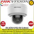 Hikvision 2MP  2.8mm Lens ColorVu IP PoE Network Dome  Camera, 1.7m White Light Distance, IP67 Weatherproof, IK10 Vandalproof, H.265+ compression, 120db Wide Dynamic Range,  24/7 Full Color Imaging, Build in Microphone, Audio & Alarm- DS-2CD2127G2-SU