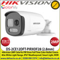 Hikvision 2MP 2.8mm Lens ColorVu PIR Siren 4-in-1 Bullet HD-TVI Camera, Switchable TVI/AHD/CVI/CVBS, 40m White Light Distance, IP67 Weatherproof, Strobe light & audio alarm, Built-in Siren-  DS-2CE12DFT-PIRXOF28