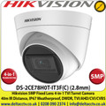 Hikvsion CCTV Camera 5MP 2.8mm Fixed Lens 4-in-1 Turret Camera, Switchable TVI/AHD/CVI/CVBS, 40m IR Distance, IP67 Weatherproof, DWDR - DS-2CE78H0T-IT3F(C)