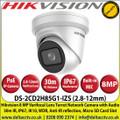 Hikvision 8MP 2.8-12mm Varifocal Lens Turret PoE Network CCTV Camera, 30m IR Distance, IP67 Weatherproof, IK10, WDR, Anti-IR reflection, Built-in Micro SD Card Slot - DS-2CD2H85G1-IZS
