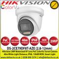 Hikvision DS-2CE79DF8T-AZE 2MP 2.8-12mm Motorized Varifocal Lens ColorVu PoC HD-TVI TurretCCTV Camera, 40m White Light Distance, IP68 Weatherproof, 130dB WDR, Smart Light, 24/7 Full Color Imaging