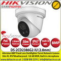 Hikvision - 8MP 2.8mm Fixed Lens AcuSense Darkfighter IP PoE Turret Network Camera, 30m IR Distance, IP67 Weatherproof, 120dB WDR, H.265+ Compression, Face Capture, Built in Microphone - DS-2CD2386G2-IU