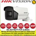 Hikvision - 8MP/4K 2.8mm Fixed Lens Ultra-Low Light 4-in-1 Bullet Camera, 60m IR Distance, IP67 Weatherproof, 130db WDR, Smart IR, 3D DNR- DS-2CE16U7T-IT3F