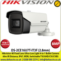 Hikvision 8MP/4K 2.8mm Fixed Lens Ultra-Low Light 4-in-1 Bullet Camera, 60m IR Distance, IP67 Weatherproof, 130db WDR, Smart IR, 3D DNR- DS-2CE16U7T-IT3F