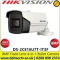 Hikvision DS-2CE16U7T-IT3F 8MP/4K 2.8mm Fixed Lens Ultra-Low Light 4-in-1 Bullet Camera, 60m IR Distance, IP67 Weatherproof, 130db WDR, Smart IR, 3D DNR