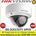 Hikvision 8MP/4K 2.8mm Fixed Lens Ultra-Low Light 4-in-1 Dome Camera, 30m IR Distance, IP67 Weatherproof, IK10 Vandalproof, 130dB WDR, EXIR 2.0, 3D DNR, Smart IR - DS-2CE57U7T-VPITF