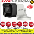 Hikvision  5MP 2.8mm Fixed Lens Ultra-Low Light 4-in-1 Mini Bullet Camera, 30m IR Distance, IP67 Weatherproof, 130dB WDR, EXIR 2.0, Smart IR,  OSD menu, 3D DNR - DS-2CE16H8T-ITF