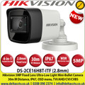 Hikvision  5Megapixel 2.8mm Fixed Lens Ultra-Low Light 4-in-1 Mini Bullet CCTV Camera, 30m IR Distance, IP67 Weatherproof, 130dB WDR, EXIR 2.0, Smart IR,  OSD menu, 3D DNR - DS-2CE16H8T-ITF