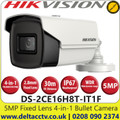 Hikvision - 5 MP 2.8mm Fixed Lens Ultra-Low Light 4-in-1 Bullet Camera,  30 m IR distance, IP67 Weatherproof, 130 dB WDR,  EXIR 2.0, OSD menu, Smart IR, 3D DNR - DS-2CE16H8T-IT1F