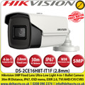 Hikvision  5 MP 2.8mm Fixed Lens Ultra-Low Light 4-in-1 Bullet Camera,  30 m IR distance, IP67 Weatherproof, 130 dB WDR,  EXIR 2.0, OSD menu, Smart IR, 3D DNR - DS-2CE16H8T-IT1F
