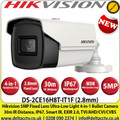 Hikvision  5 Megapixel 2.8mm Fixed Lens Ultra-Low Light 4-in-1 Bullet CCTV Camera,  30 m IR distance, IP67 Weatherproof, 130 dB WDR,  EXIR 2.0, OSD menu, Smart IR, 3D DNR - DS-2CE16H8T-IT1F