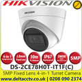Hikvision 5MP 2.8mm Fixed Lens 4-in-1 Turret Camera, Switchable TVI/AHD/CVI/CVBS, 30m IR Distance, IP67 Weatherproof, Digital WDR - DS-2CE78H0T-IT1F (C)