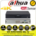 Dahua - 4 Channel Penta-brid 4K-N/5MP Compact 1U 1HDD WizSense Digital Video Recorder - DH-XVR5104HS-4KL-I2